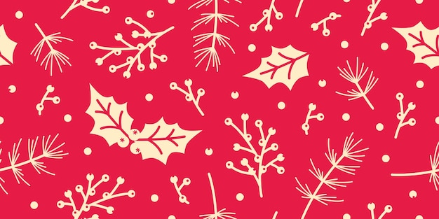 Seamless Christmas Pattern Spruce Holly Leaves Berry Leaf Background Custom Christmas Pattern