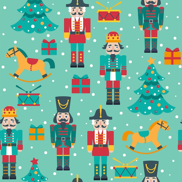 Seamless christmas pattern with nutcrackers, tree, horses, boxes. Premium Vector