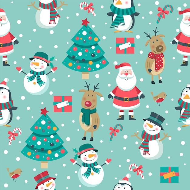 Seamless christmas pattern with santa, deer, snowmen on blue Premium Vector