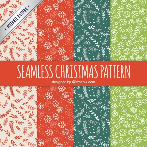 Seamless christmas patterns in floral style Premium Vector