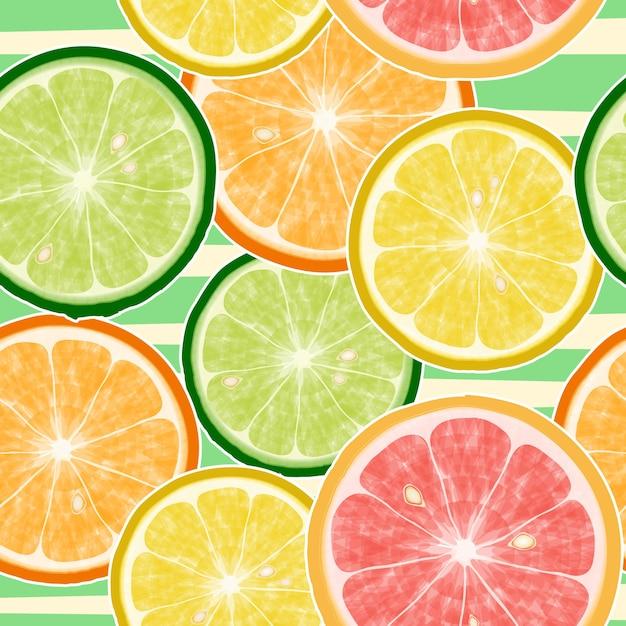 シームレスな柑橘系の果物のパターン。レモン、オレンジ、マンダリン、グレープフルーツ 無料ベクター
