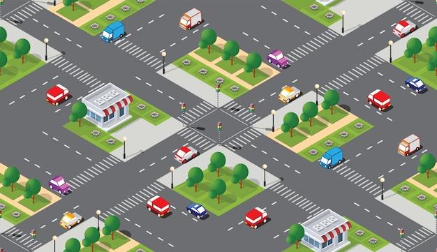 Seamless city map pattern Premium Vector