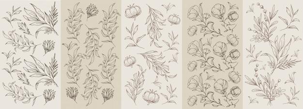 꽃과 식물 손으로 그린 원활한 클래식 브라운 빈티지 패턴 프리미엄 벡터
