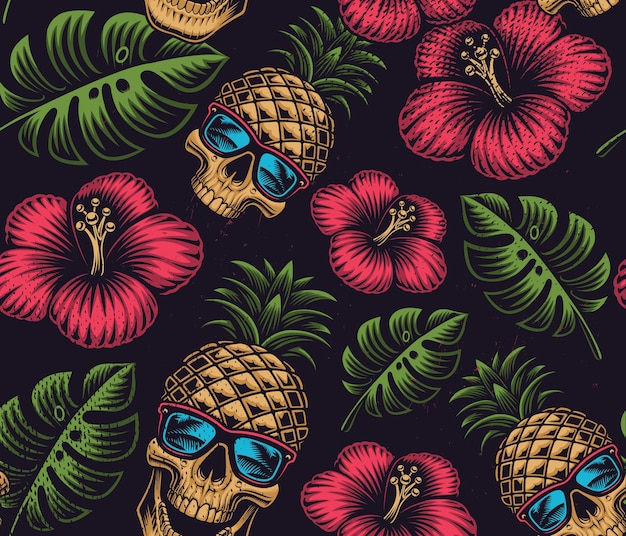 Seamless color pattern on the hawaiian theme with pineapple skull on dark background Premium Vector