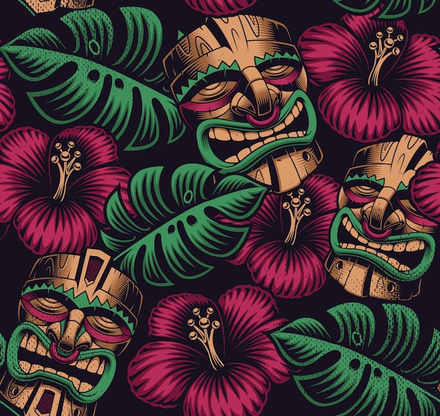 Seamless color pattern with a tiki mask on polynesia style on dark background Premium Vector