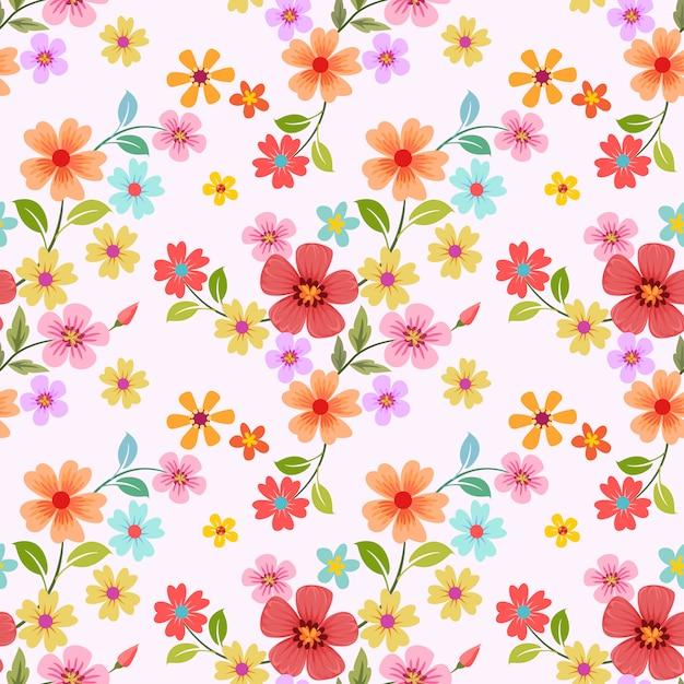 Бесшовные красочные цветы Premium векторы