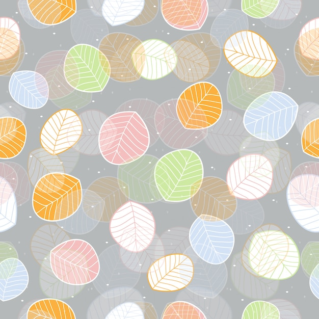 Seamless colorful leaves pattern background Premium Vector