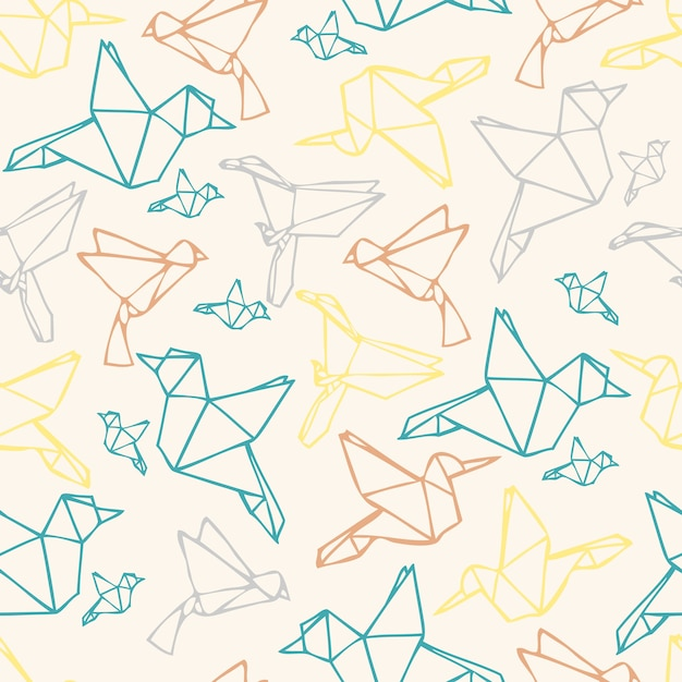 seamless colorful paper bird origami pattern background vector