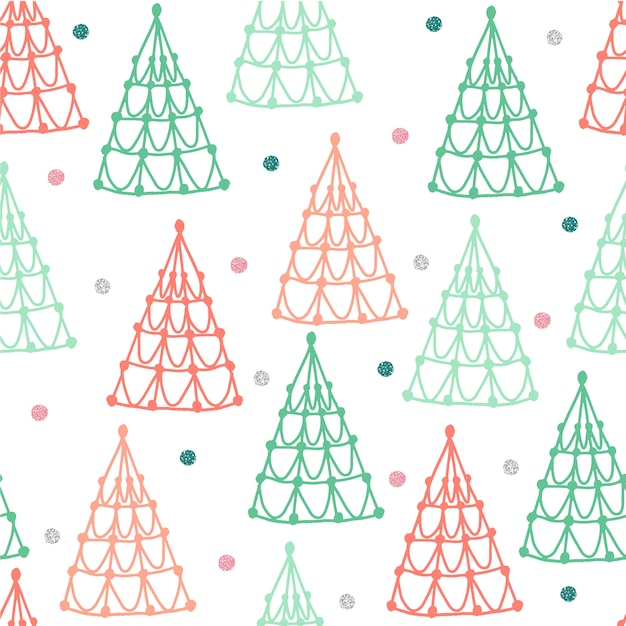 Seamless colorful pastel christmas pattern background with pine tree and glitter star Premium Vector