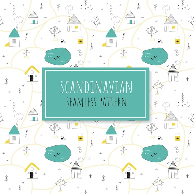 Seamless colorful pattern with houses and trees. Premium Vector