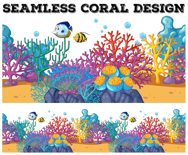 Seamless coral reef under the ocean Free Vector