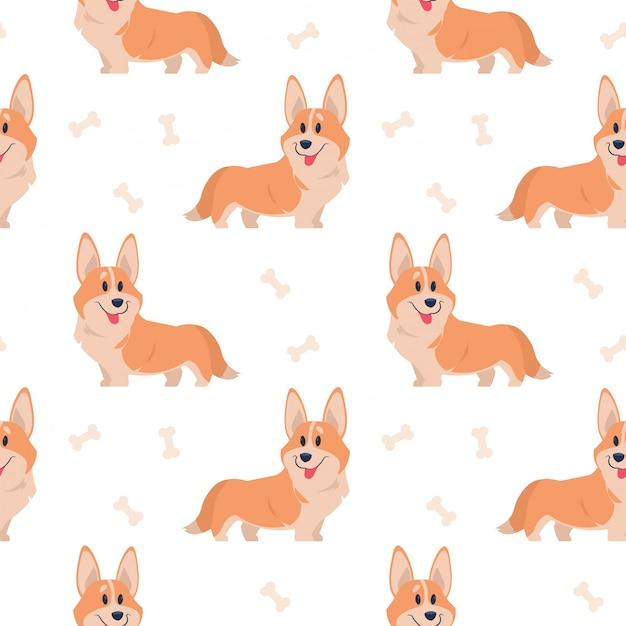 Бесшовные корги. мультфильм домашнее животное, набор милых щенков для печати, плакаты и открытки. корги животных фон. смешная маленькая собачка бесшовный фон Premium векторы