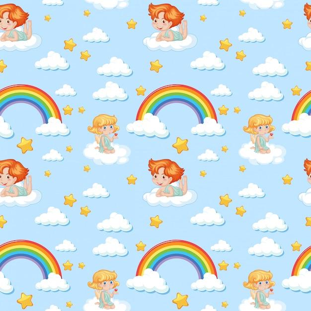 Angelo carino senza soluzione di continuità con arcobaleno e motivo a stelle Vettore gratuito