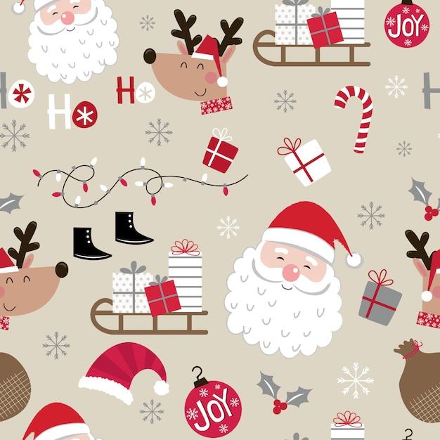 Seamless cute christmas character pattern Premium Vector