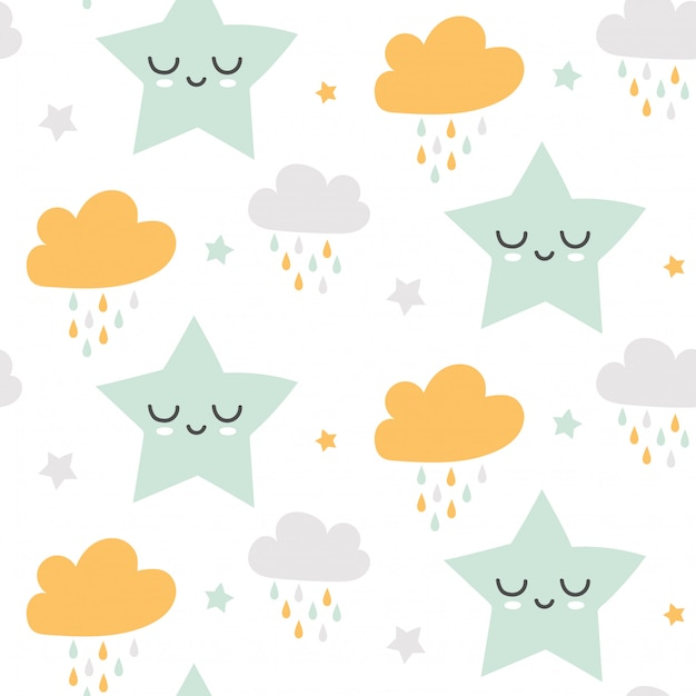 Seamless cute clouds and stars pattern Premium Vector