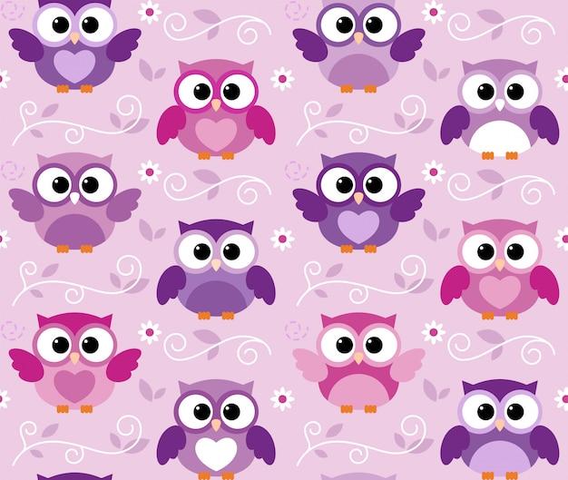 Seamless cute colourfull owl kids pattern Premium Vector