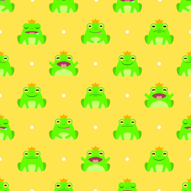 Seamless cute frog vector pattern background Premium Vector