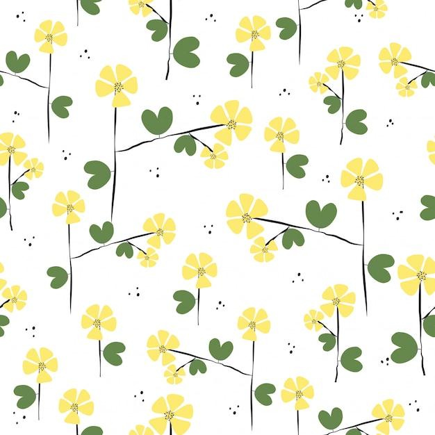 Seamless cute hand drawn flowers pattern Premium Vector