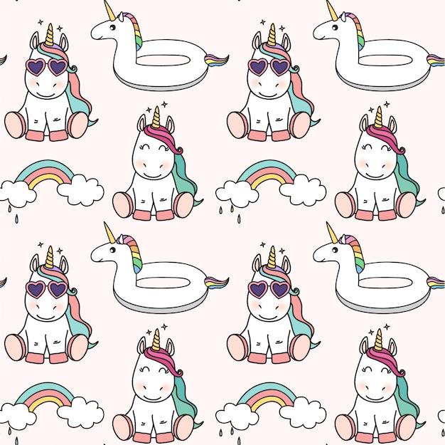 Seamless cute unicorn pattern Premium Vector