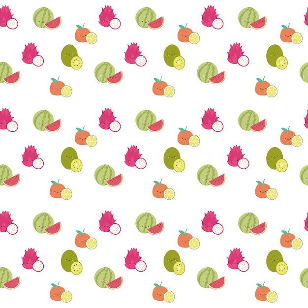 シームレスなかわいいスイカの果実のパターン Premiumベクター
