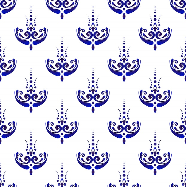 Бесшовный узор дамасской, синие и белые обои Premium векторы