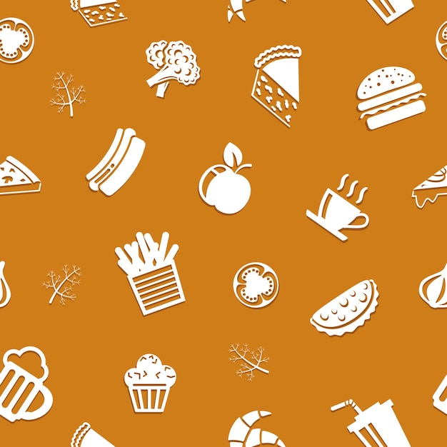 Seamless delicious food pattern Free Vector