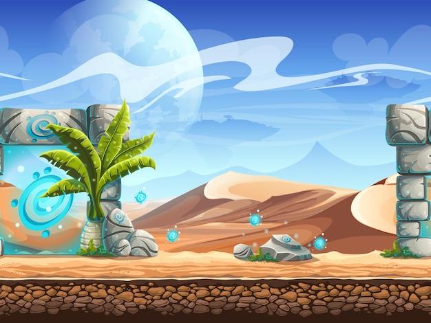 手のひらと魔法のポータルを備えたシームレスな砂漠。 Premiumベクター