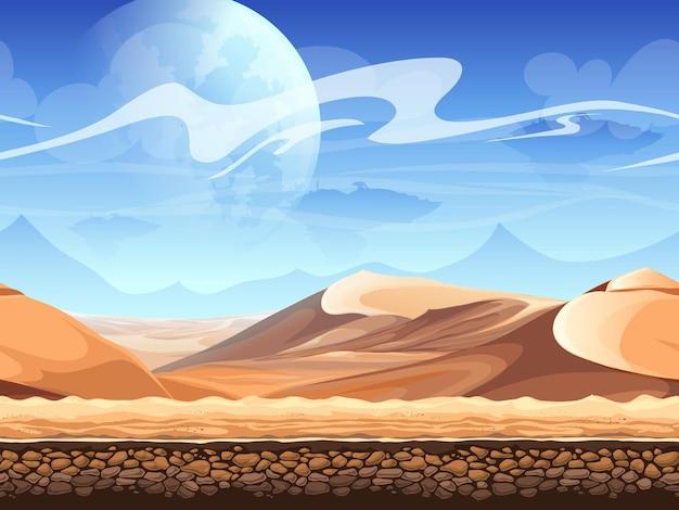 宇宙船のシルエットとシームレスな砂漠。 Premiumベクター