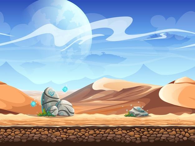 石と宇宙船のシルエットとのシームレスな砂漠。 Premiumベクター