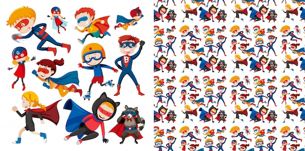 Seamless  design with superhero flying Free Vector