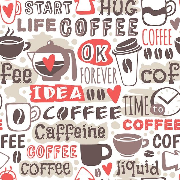 Seamless doodle coffee pattern hand drawn  illustration. Premium Vector