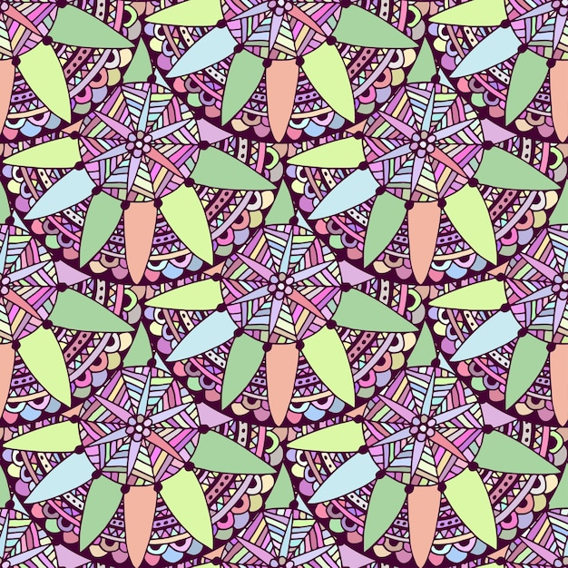 Seamless doodle floral background in vector. tribal ethnic pattern. zentangle for adult coloring book page. Premium Vector