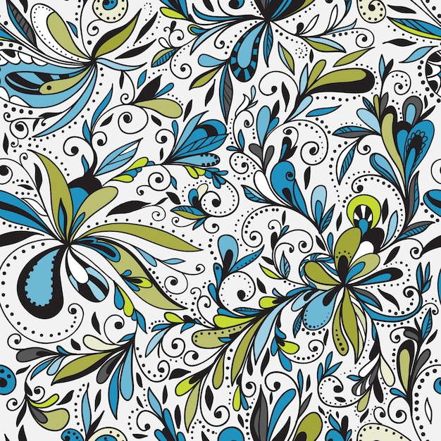 Seamless doodle floral background Free Vector