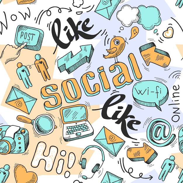 Seamless doodle social media pattern background vector illustration Free Vector