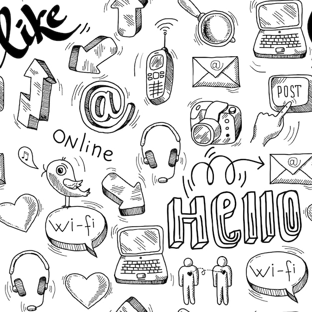 Seamless doodle social media pattern background Free Vector