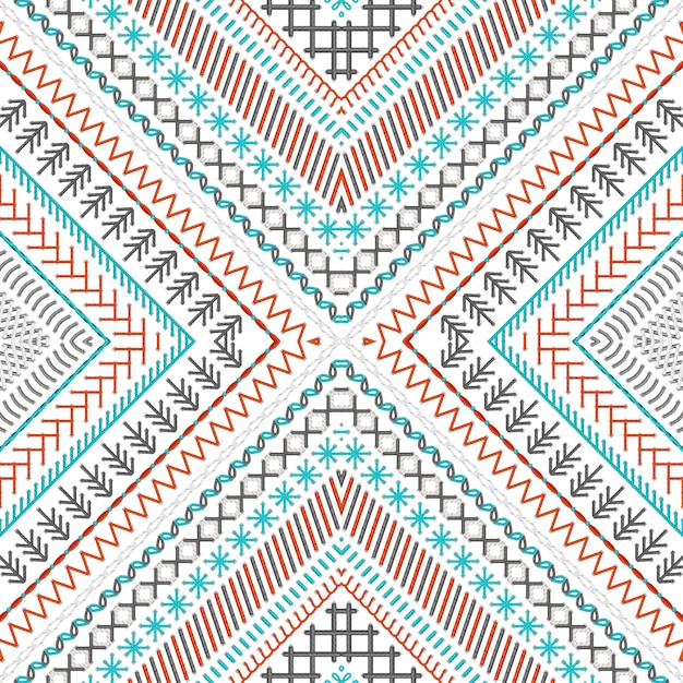 Seamless embroidery pattern with high detailed stitches Premium Vector