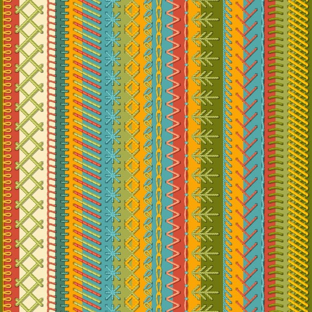 Seamless embroidery pattern. Premium Vector
