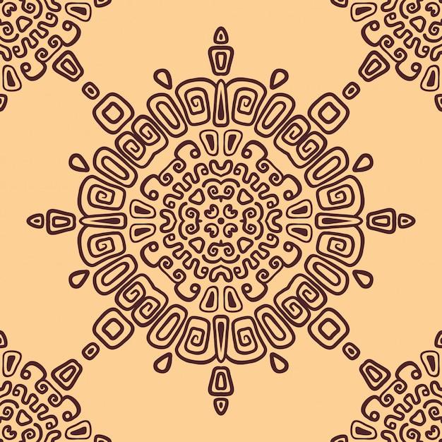 Seamless ethnic pattern of circular ornament Premium Vector
