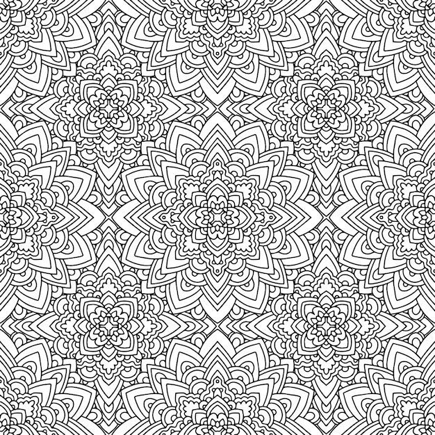 Seamless ethnic pattern with american indian motifs in black and white colors. aztec background. Premium Vector