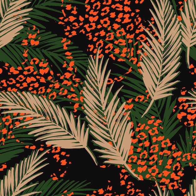 Seamless exotic pattern with palm leaves and animal pattern. hand draw illustration Premium Vector