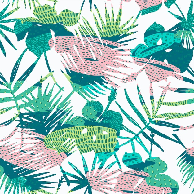 Seamless exotic pattern with tropical plants. Premium Vector