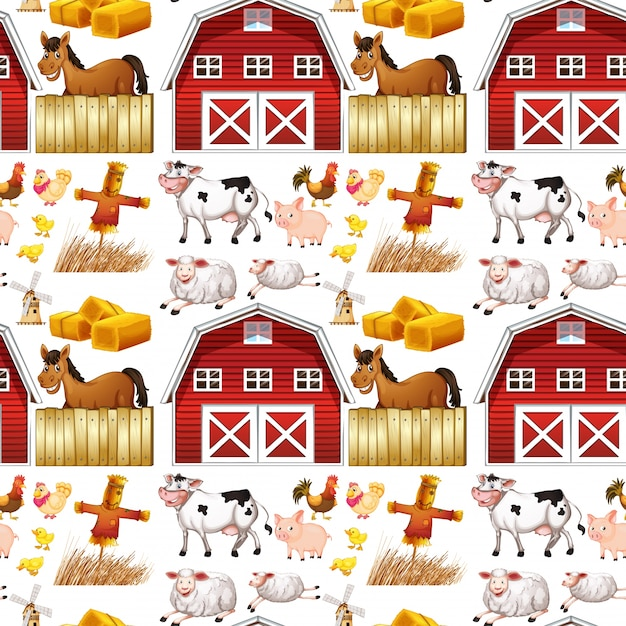 Seamless Farm Animals And Red Barn Free Vector