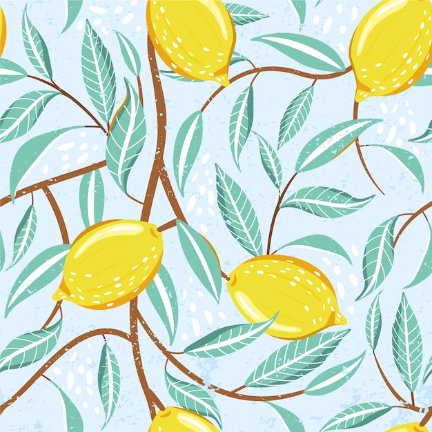 Seamless fashion pattern with fresh lemon fruits, leaves and abstract element. Premium Vector