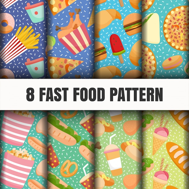 Seamless fast food pattern set. Free Vector