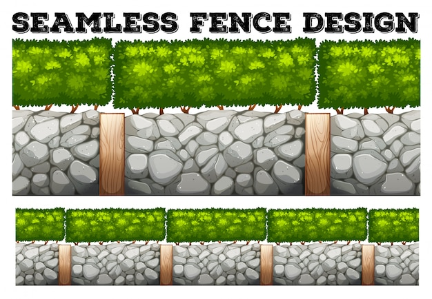Seamless fence  with tree and stones Free Vector