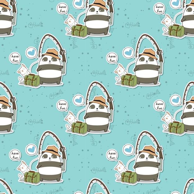 シームレスな釣りパンダとかわいい猫の休日パターン Premiumベクター