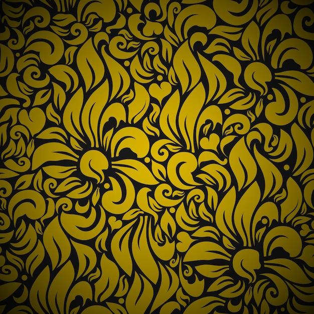 シームレスな花の背景パターン。黒に金の花 無料ベクター