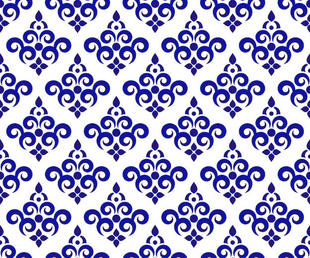 Seamless Floral Blue And White Wallpaper And Ceramic Pattern