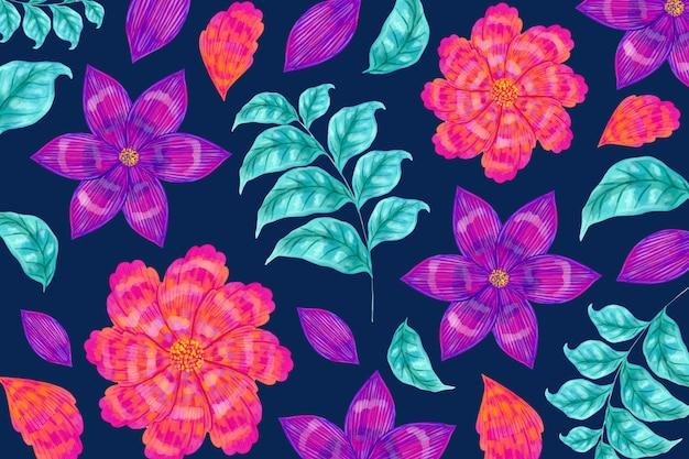 シームレスな花柄と葉 無料ベクター