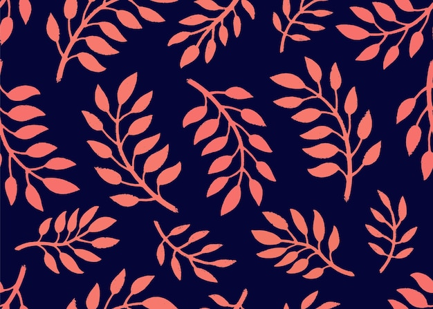 Seamless floral pattern. bright pattern with branches in coral and navy color Premium Vector